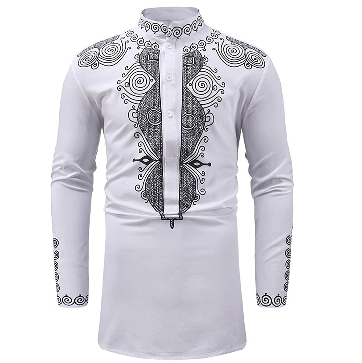 Amazon.com: Camisa larga para hombre casual africana Dashiki ...