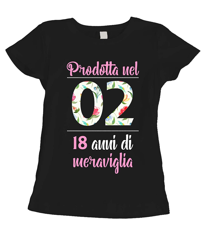 18 Anni di meraviglia Tshirt Compleanno Donna 18 Anni Prodotta nel 2002 Flower Idea Regalo Summer