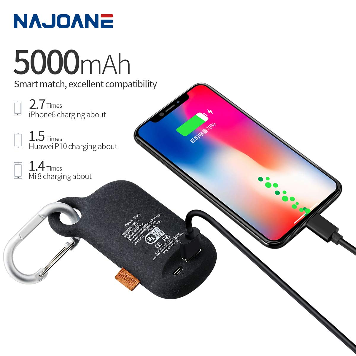 Amazon.com: Batería externa de emergencia Najoane de 5000 ...