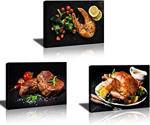 Kitchen-Wall Decor-Pictures Food-Dining Room-Decorations | Restaurant Art Black Print Meat Poster Roasted Chicken Photo Steak Fish Paitning Canvas Paint Modern Artwork Farmhouse Wall Art 3 Panel Frame
