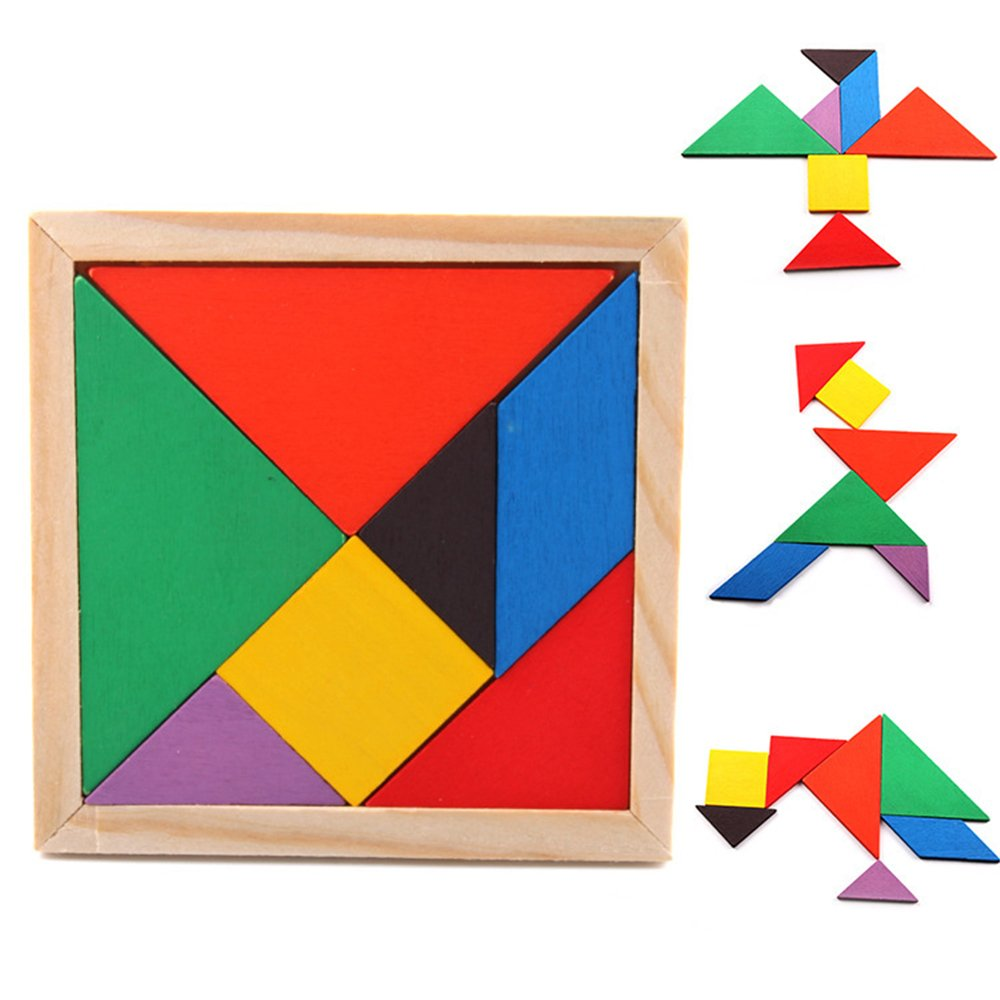 PlayMaty Tangram Puzzle 7 Piece Colorful Wooden Shapes Jigsaw Puzzle Classic Educational Learning Toy for Kids