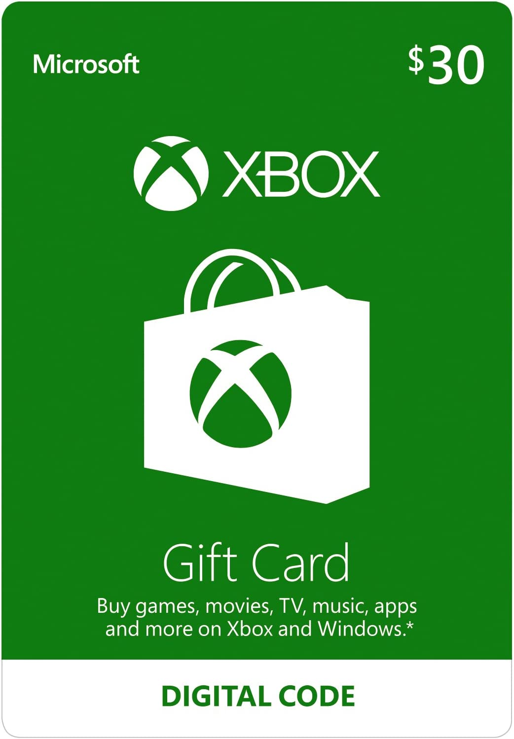 Amazon.com: $30 Xbox Gift Card - [Digital Code]: Video Games