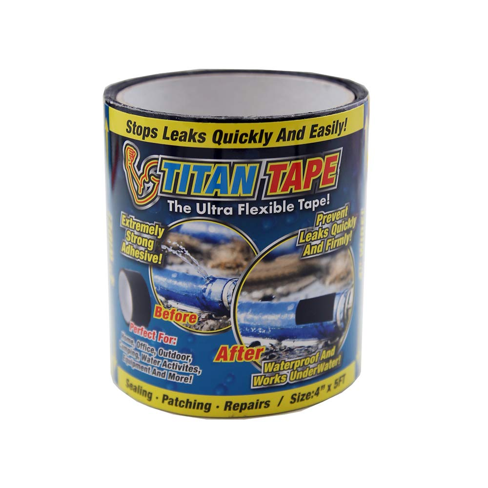 (2 Pack) Titan Tape Rubberized Waterproof Tape, Stops Leaks Quickly, Size 5'x4''