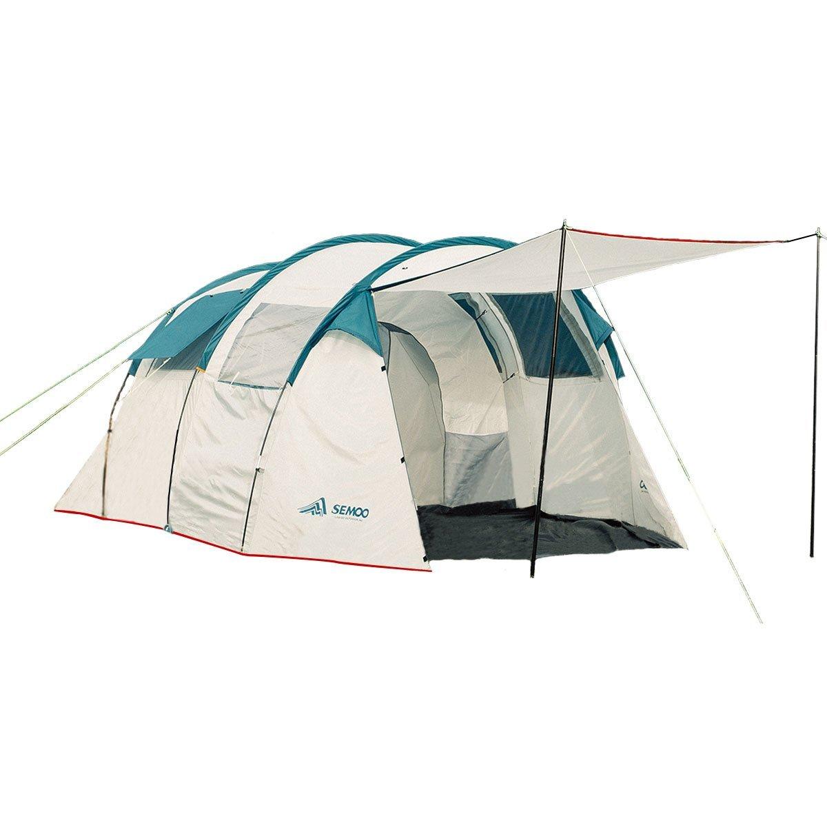 Semoo Tienda de campaña Resistente al Agua- con Dos cabinas para Dormir- 220 cm de Altura- para de 5 a 6 Personas, de Color Gris y Blanco, para familias, IR de Camping o de Viaje