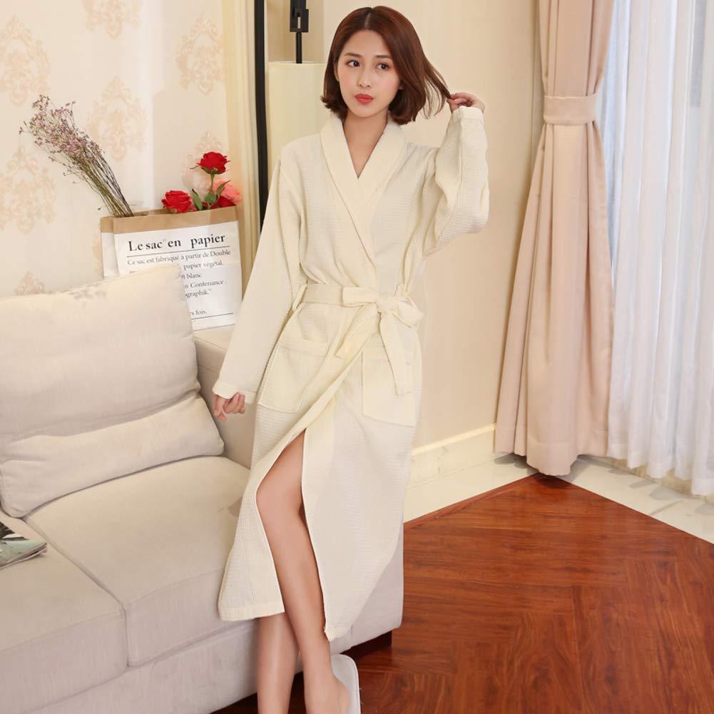 Unisexe mais Femme Absorbant Mince Robe De Chambre Doux Respirabilit/é Peau-Amical Pyjama Gaufre Coton /Épais Tissu /éponge Peignoir De Bain