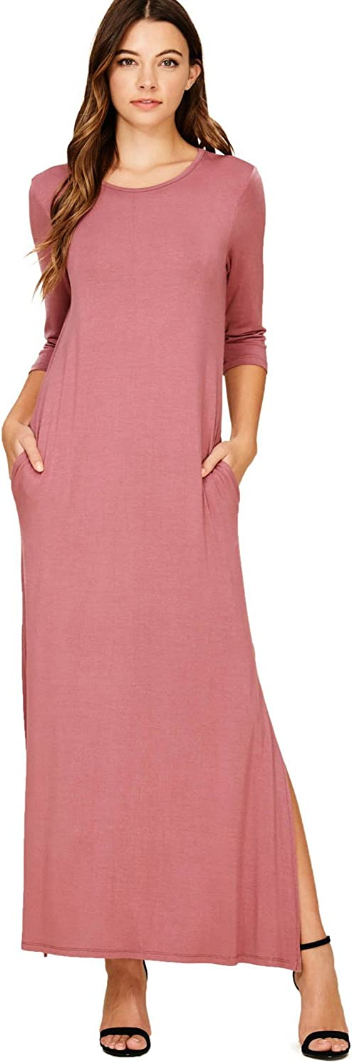 Jacansi Womens Casual Loose 3//4 Sleeve Round Neck Maxi Long Dress with Pockets Plus Size