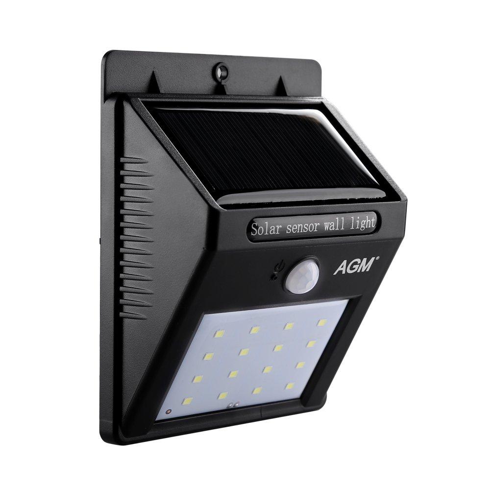 AGM Lamparas Solares 16 LEDs Impermeable Luz Solar con Sensor de Movimiento Focos para Pared Exterior, Iluminación de Exterior y Seguridad
