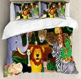 Ambesonne Zoo Duvet Cover Set Queen Size, Animals in the Jungle Funny Expressions Exotic Comic Cheer Natural Habitat Illustration, Decorative 3 Piece Bedding Set with 2 Pillow Shams, Multicolor