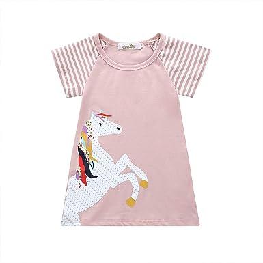 JUTOO Vestido de Rayas de Pony de Manga Corta para niñas ...