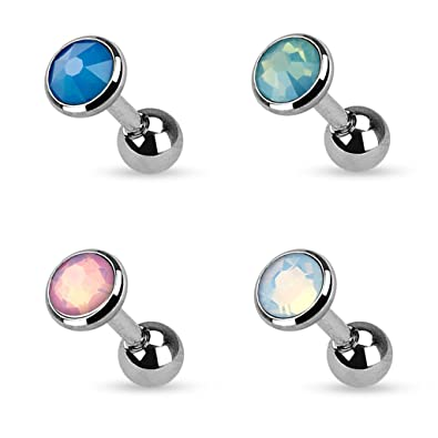 935f77b59 Amazon.com: Set of 4 Opal Opalite Tragus Stud Barbell Cartilage Bar Helix  Piercing 16g, 3mm, 4mm, or 5mm (3mm Set of 4): Jewelry