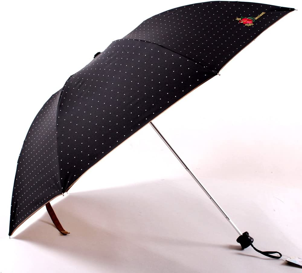 Migobi Ultralight Folding Polka Dots Champagne Lining Compact Sun//Rain Umbrella UV Protected Parasol