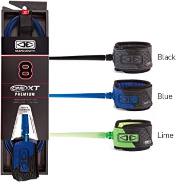 Ocean And Earth 7/' XT Premium Surfboard Leash In Black Cold Water