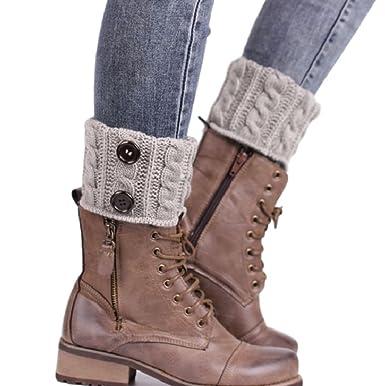 foreverstore calentador de invierno ganchillo punto pata arranque calcetines Twist botones de arranque Calcetines: Amazon.es: Hogar