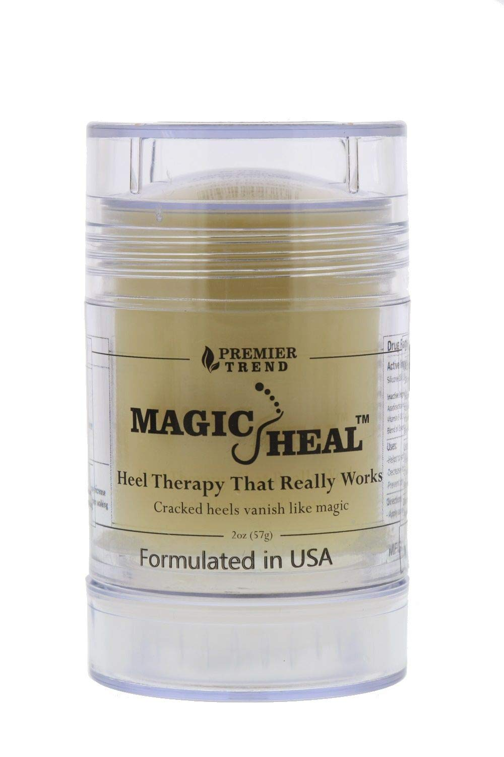 Magic Heal Cracked Heel Treatment for Cracked Heels, 2 Ounce-Intensive Foot Repair Therapy Cream with Natural Ingredients to Soothe & Moisturize Painful Dry Skin-Fast Results, No Mess Stick Applicator