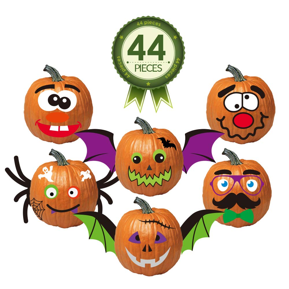 Colonel Pickles Novelties Pumpkin Stickers – 44 Piece Halloween Funny Foam Face Decorating Kits