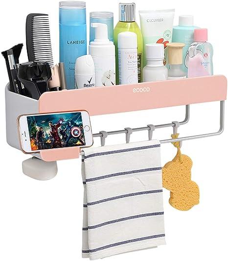 Amazon Com Adhesive Bathroom Shelf Storage Organizer Wall Mount No Drilling Shower Shelf Kitchen Storage Basket Rack Shelves Shower Caddy Pink Home Kitchen