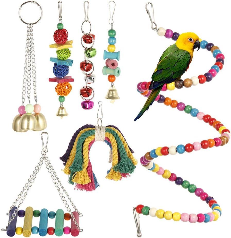 Dightyoho 7pcs Juguetes Coloridos para Pájaros en Juala, con Columpio y Campana, Juguetes para Masticar para Loros Agaporni Yacos Periquitos