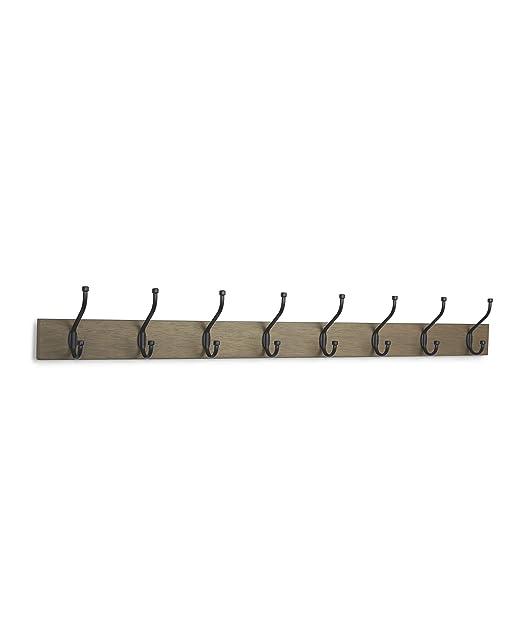 AmazonBasics - Perchero de pared, 8 ganchos estándar, Madera ...