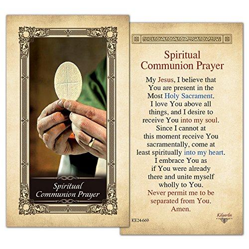 Spiritual Communion Prayer Laminated Holy Card - Pack of -