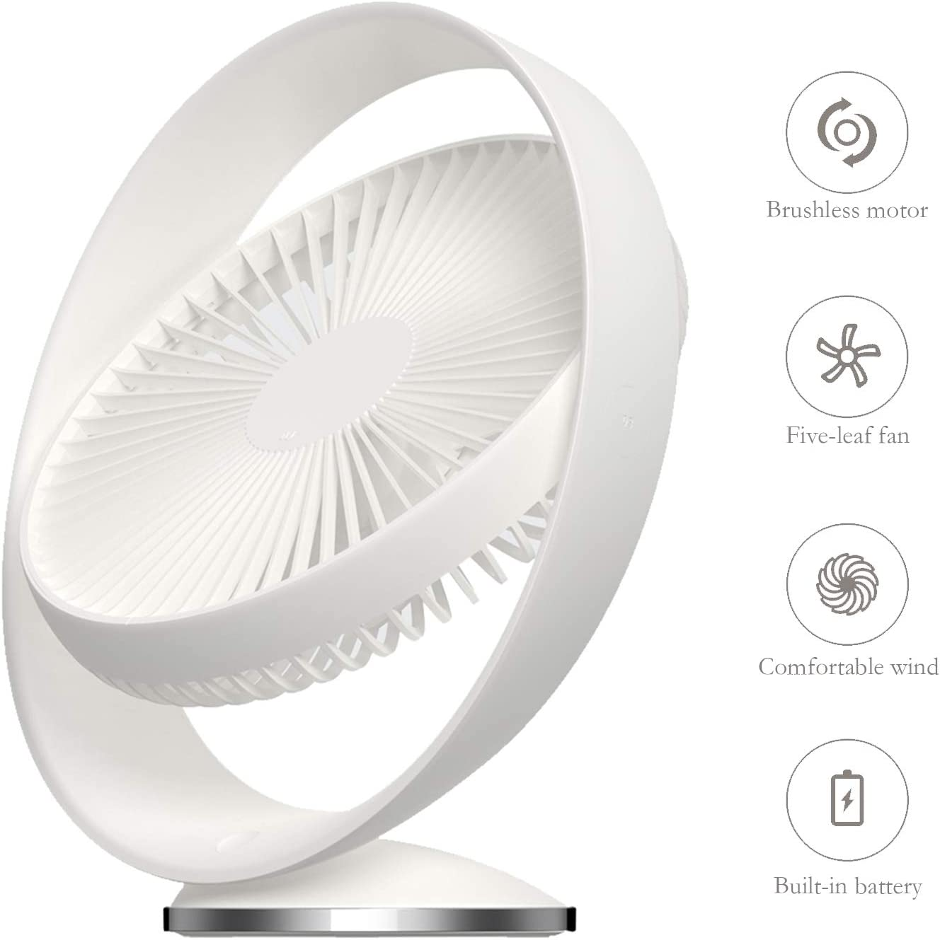FANGZONG 2019 USB 8-inch Desk Fan, 3 Speeds Whisper Quiet, 160 Rotationd Up and Down Portable Fan Desktop Office Table Air Circulator Fan