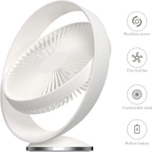 FANGZONG 2019 USB 8-inch Desk Fan, 3 Speeds Whisper Quiet, 160° Rotationd Up and Down, Portable Fan Desktop Office Table Air Circulator Fan