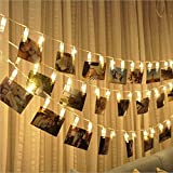 [Timer, 8 Modes] 20 Photo Clips String Lights/Holder Battery Operated, Indoor Fairy String Lights for Hanging Photos Pictures Cards and Memos, Ideal Gift Photo Clip Holder for Dorms Bedroom Decoration (Warm White)