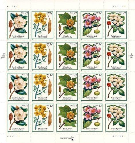 flowering-trees-full-pane-of-twenty-32-cent-stamps-scott-3193-97-by-usps