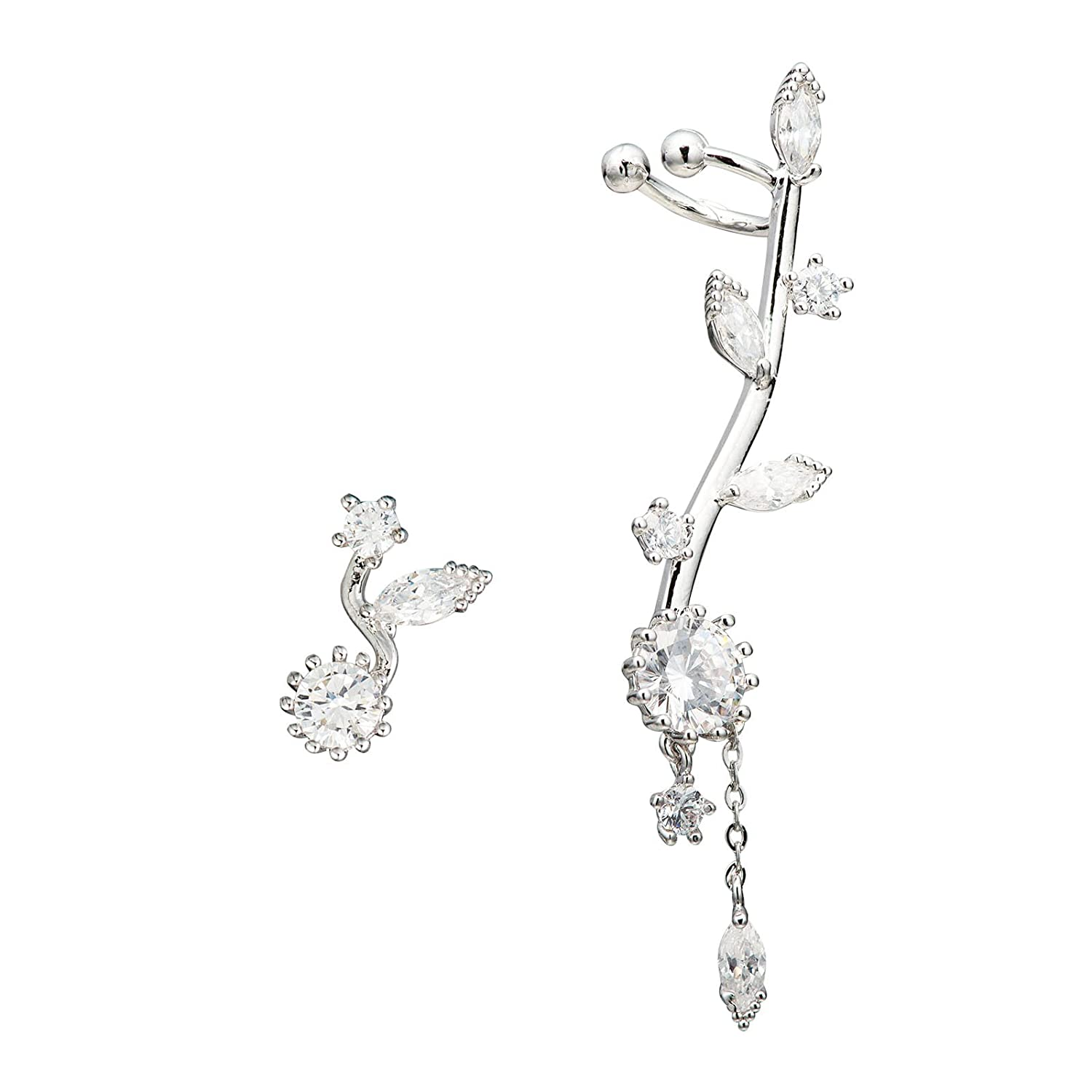 CZ Crystal Sun Flower Left Ear Cuffs Earrings Stud Set Silver Tone Chicinside c0018