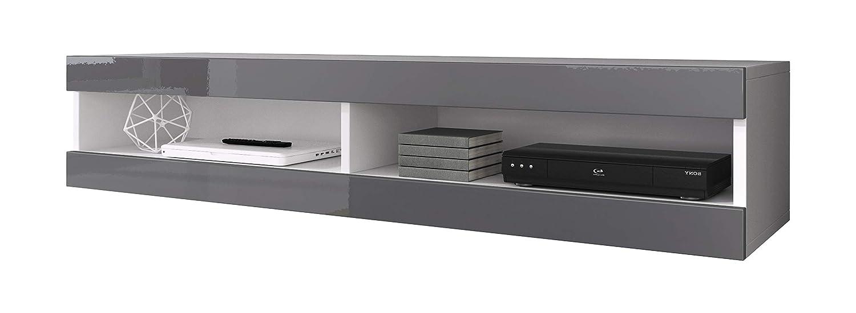 Floating TV Unit Cabinet Stand Volant 150 cm (body matt White/Front Grey High Gloss) (With LED) E-Com International B.V. TVU134150