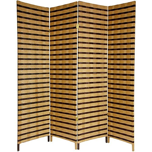 ORIENTAL FURNITURE 6 ft. Tall Two Tone Natural Fiber Room Divider - 4 Panel