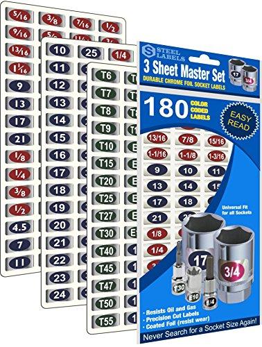 "Mechanics Master Set ""Economy Edition"" (Blue) 180 Piece Chrome foil Labeling Set for Socket Sets 1/4"", 3/8"", 1/2"" Drives, Torx, Jumbo"