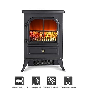 Finether Chimenea Eléctrica, Estufa Eléctrica, Calentador de Fuego Real, 1800 W, 41.5 cm x 28 cm x 54cm, Negro