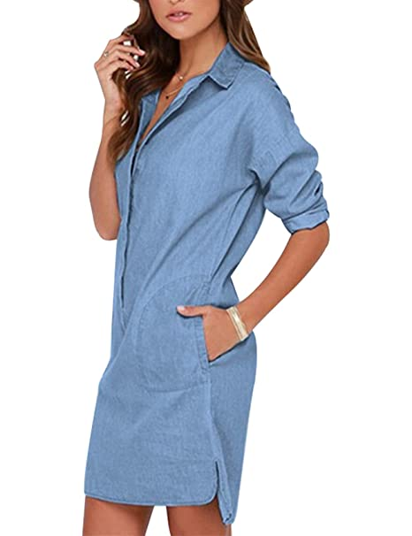 68d3e4bde2e Image Unavailable. Image not available for. Color  Bestgift Women s Lapel Long  Sleeve Straight Denim Shirt Dress XS Light Blue
