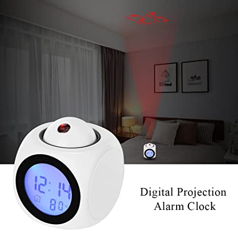 Vvciic Proyeccišn Digital despertador Cubo LED reloj de escritorio pantalla LCD con retroiluminacišn Soporte en tiempo actual carillšn cada hora Snooze ...