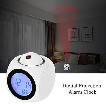 DEBEME Reloj despertador de proyección reloj despertador de proyección digital reloj de escritorio LED reloj de escritorio digital termómetro de reloj de ...