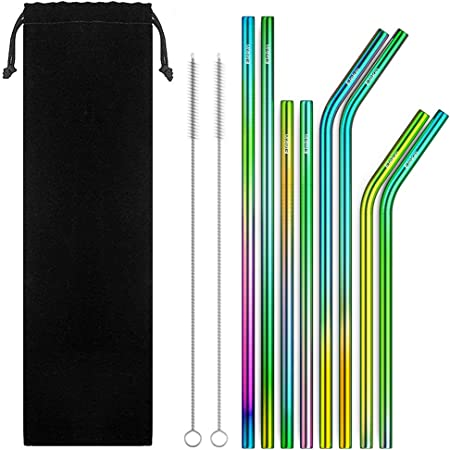 Acier inoxydable 5X Pailles Réutilisable Métal Paille Avec Brosse De Nettoyage Kit