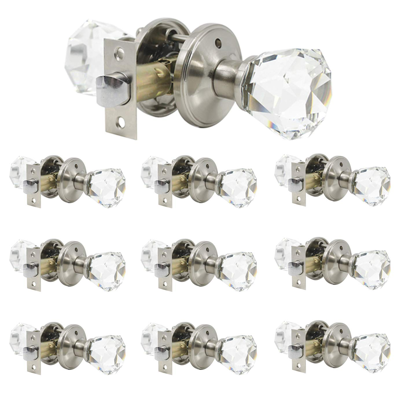 10 Pack Classic Diamond Crystal Door Knobs Unlocking, Passage Function for Hall Closets Pantry Doors, Satin Nickel Finish|Heavy Duty Interior Door Knobs with Premium Quality by Knobonly