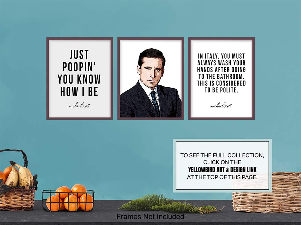 Guest Bath 8x10 Just Poopin You Know How I Be Picture Print Rest Room Funny Bathroom Wall Decor Gag Gift Art Decoration for Restroom The Office Merch Michael Scott Poster Set Powder Room
