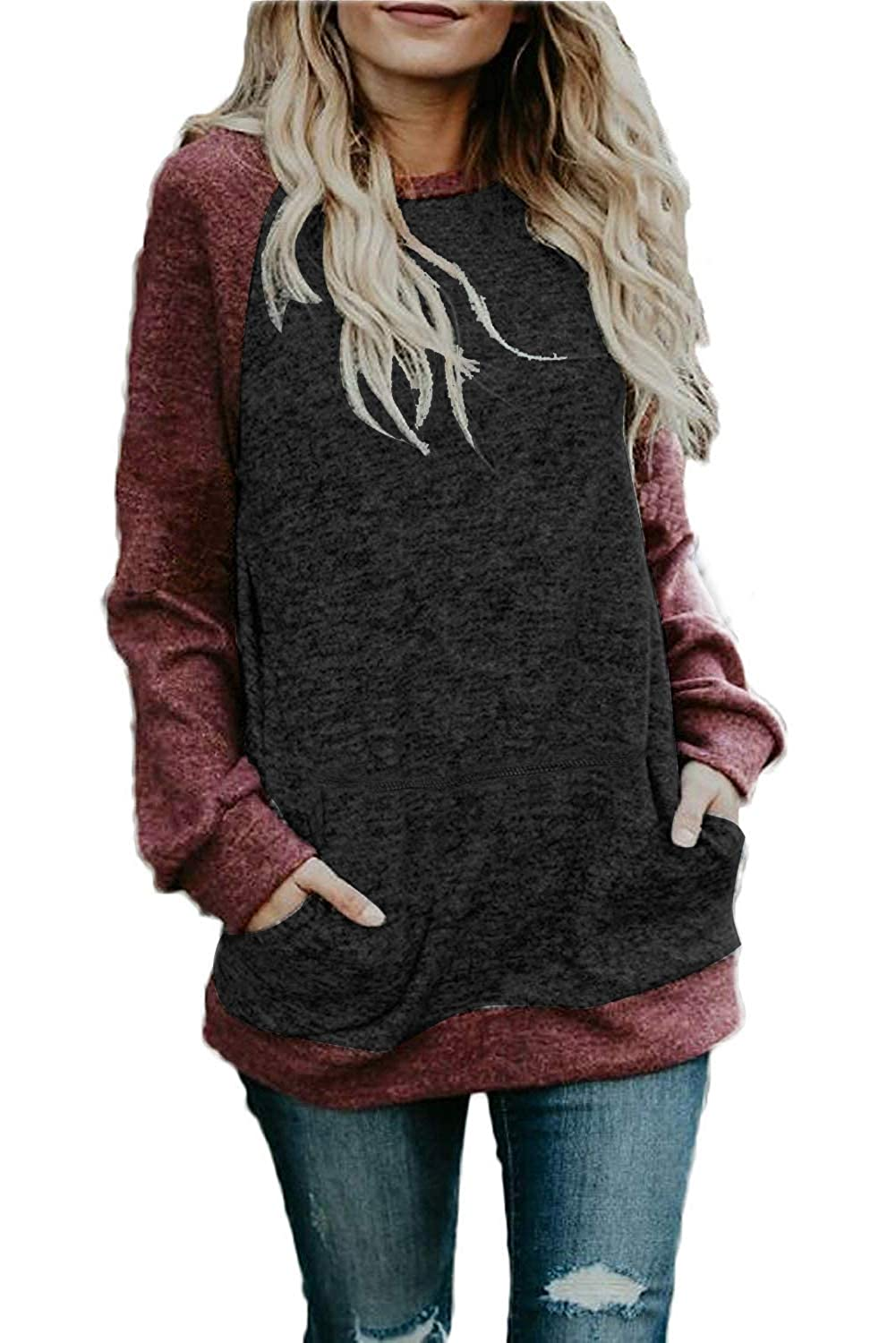 Dasbayla Women's Casual Long Sleeve Tops Crew Neck Blouse Sweatshirts with Pockets Colour Block DAS-2061