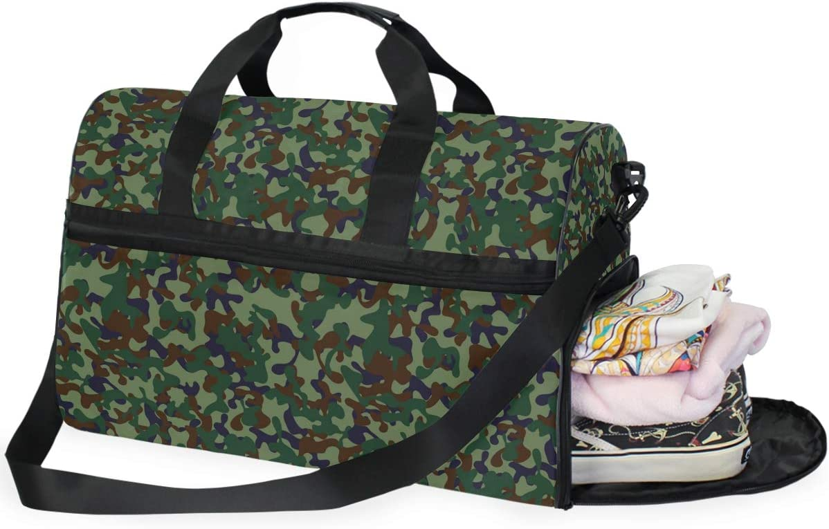 WIHVE Sports Gym Bag with Shoe Compartment Camouflage Military Travel Duffel Bag
