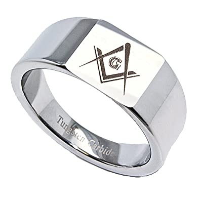 Amazon 4mm Tungsten Band 12mm Square Top Freemason Symbol