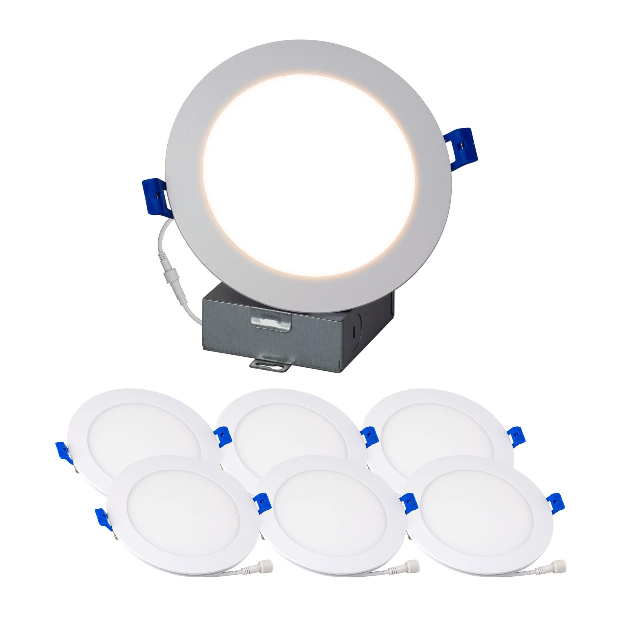 6'' Slim Recessed Panel Ceiling Downlight Ultra Thin Wafer with Junction Box; 14W=50W Equivalent; 3-in-1 CCT: 3000k/4000k/5000k, 950 lumens, 120V, Dimmable, IC Rated, ETL/ES/JA8 (6Pack)