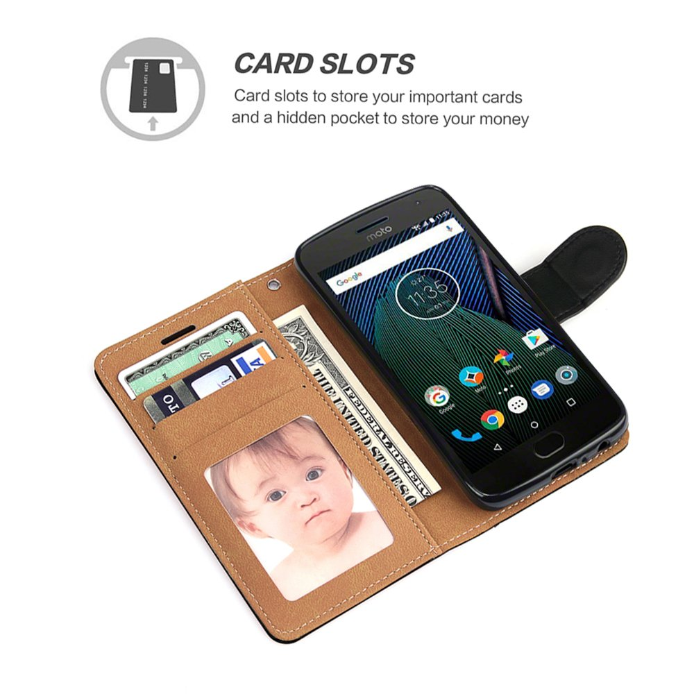 Moto G5 Plus Case, SOWOKO Book Style Leather Wallet Case Flip Folio Shockproof Protection Cover with Credit Card Slots and Kickstand for Motorola Moto G Plus (5th Generation) - Black by SOWOKO (Image #3)