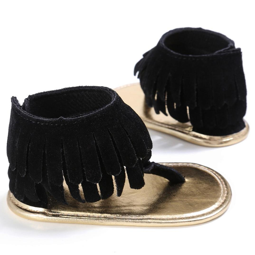 FORESTIME/_baby shoes Forestime Newborn Baby Girls Prewalker Crib Tassel Leather Anti-Slip Shoes Sandals Summer First Walker