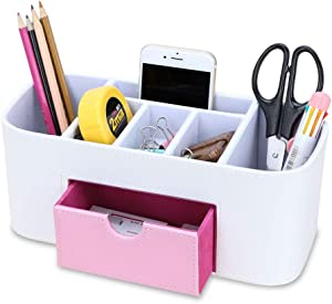 KINGFOM 6 Slot Pu Leather Leather Pen and Pencil Desk Office Organizer, Cell Phone Remote Control Holder, Makeup Skincare Supplies Holder with Jewelry Collection T Drawer (White + Pink Drawer)