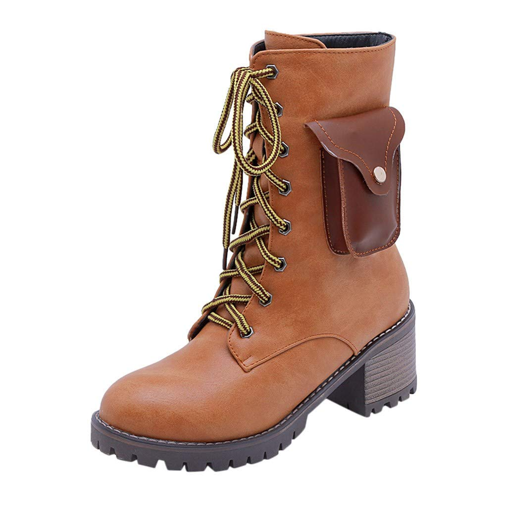 Women Heated Warm Boots Insulated Electric Oxfords Lace up Short Boots Outdoor Stacked Heel Combat Riding Boots (US:10.5, Brown) by Dasuy