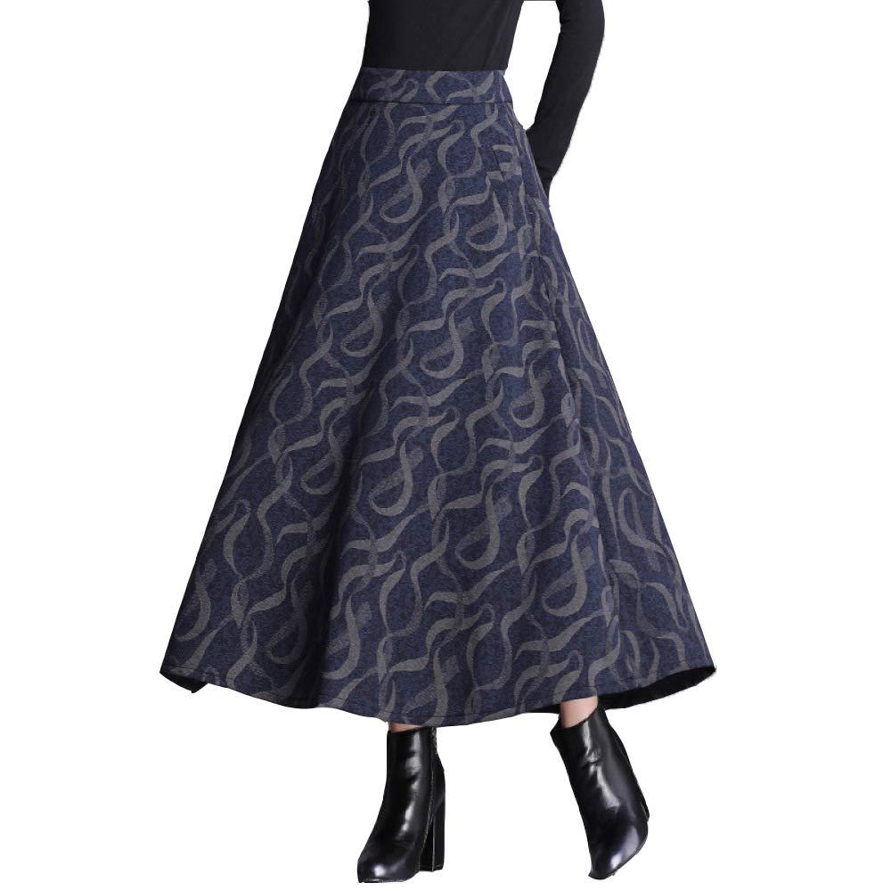 B QJKai Retro Plaid Skirt Women's Autumn and Winter High Waist Long Dress Aline Large Skirt Umbrella Skirt