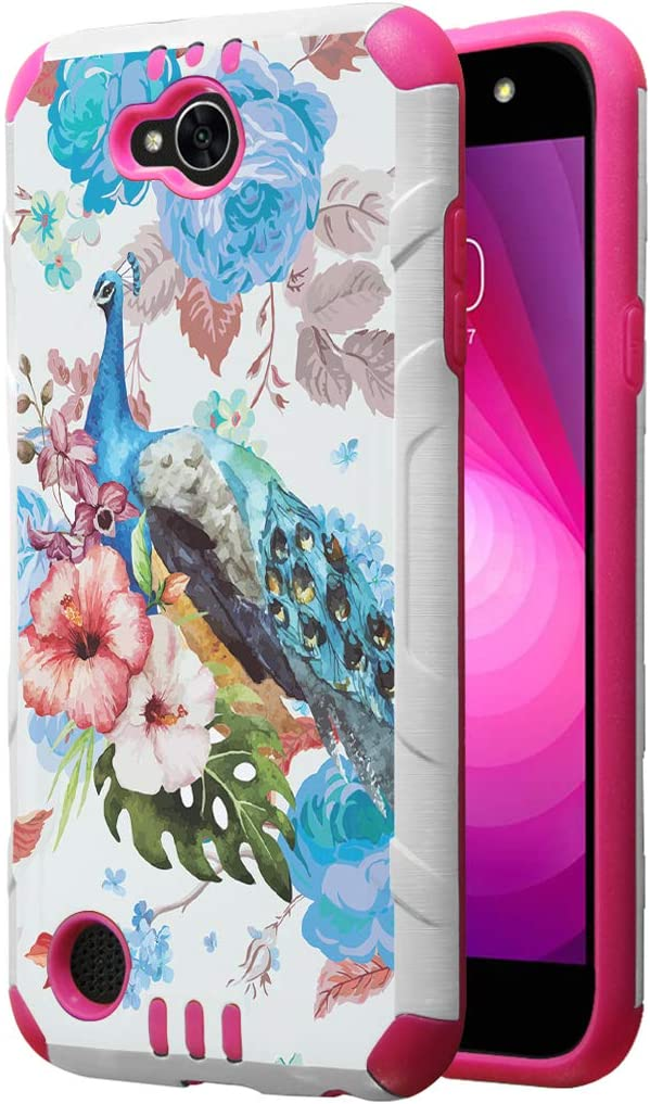 Capsule Case Compatible with LG Fiesta 2 (L163BL), LG X Power 2 (M320), LG X Charge (M322), Fiesta LTE, K10 Power, LS7 4G LTE [Dual Layer Slim Armor Case White Pink] - (Flower Peacock)
