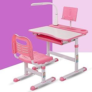 Aliyaduo Desk and Chair Set-Height Adjustable,Children Kids Home School Study Desk with Tilt Desktop, Bookstand,LED Light, and Storage Drawer for Boys Girls Studying (Pink)