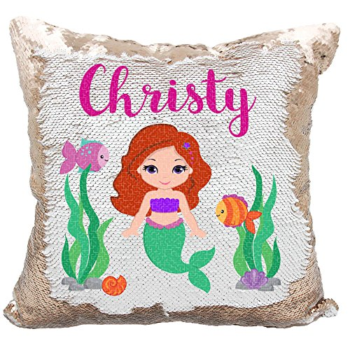 (Personalized Mermaid Reversible Sequin Pillow, Custom Mermaid Underwater Scene Sequin Pillow (White/Rose-Gold))